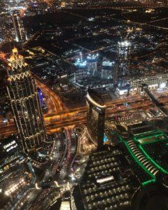 Ночной Дубай со смотровой площадки At The Top Sky Burj Khalifa