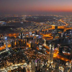 Вид на Дубай со смотровой площадки At The Top Sky Burj Khalifa